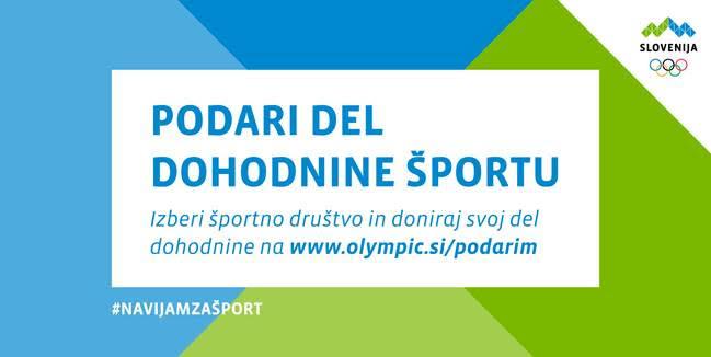 Nadgradnja aplikacije Podari športu do 1 % odmerjene dohodnine